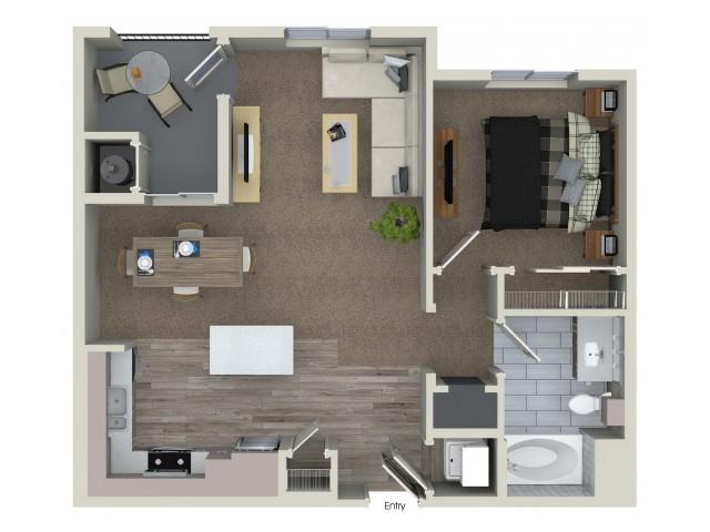 1 bedroom 1 bathroom A1.1 floorplan at Valentia Apartments in La Habra, CA
