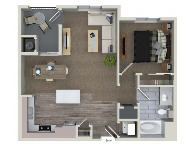 1 bedroom 1 bathroom A1 floorplan at Valentia Apartments in La Habra, CA