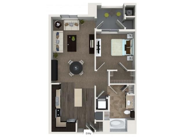 1 bedroom 1 bathroom A2 floorplan at Valentia Apartments in La Habra, CA