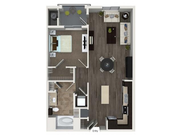 1 bedroom 1 bathroom A2.1 floorplan at Valentia Apartments in La Habra, CA