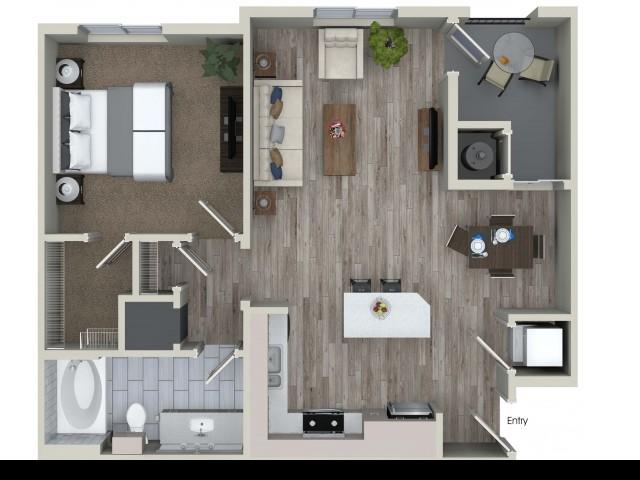 1 bedroom 1 bathroom A3 floorplan at Valentia Apartments in La Habra, CA