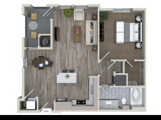 1 bedroom 1 bathroom A3.1 floorplan at Valentia Apartments in La Habra, CA