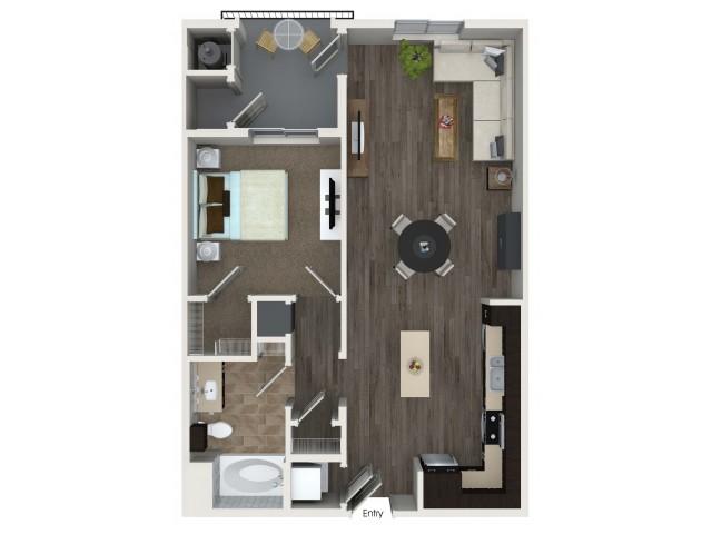 1 bedroom 1 bathroom A4 floorplan at Valentia Apartments in La Habra, CA