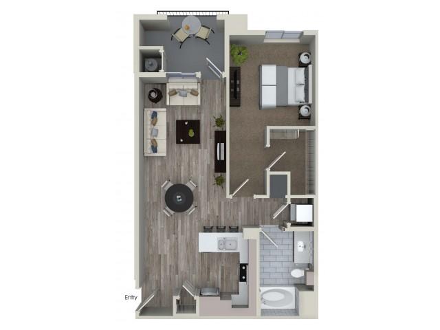 1 bedroom 1 bathroom A5 floorplan at Valentia Apartments in La Habra, CA