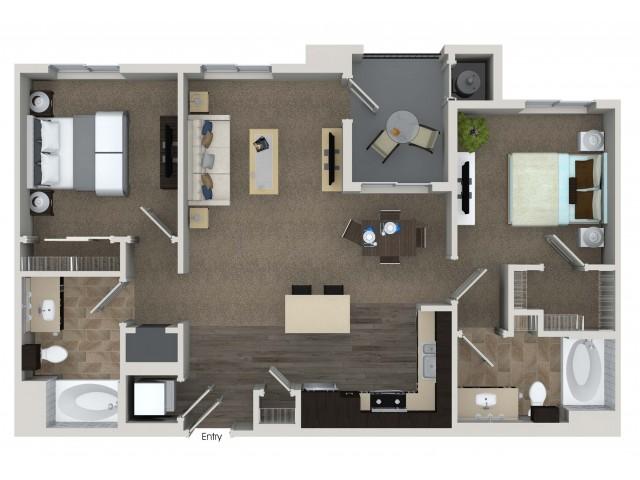 2 bedroom 2 bathroom B1 floorplan at Valentia Apartments in La Habra, CA