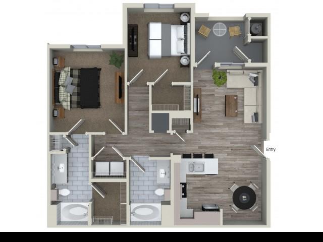 2 bedroom 2 bathroom B2 floorplan at Valentia Apartments in La Habra, CA