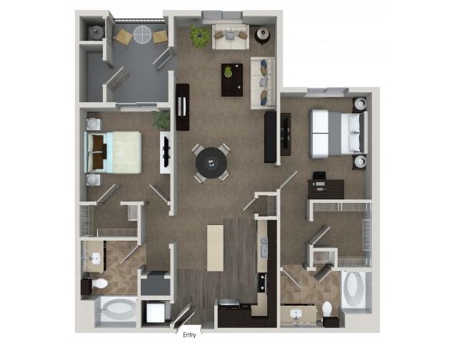 2 bedroom 2 bathroom B3 floorplan at Valentia Apartments in La Habra, CA