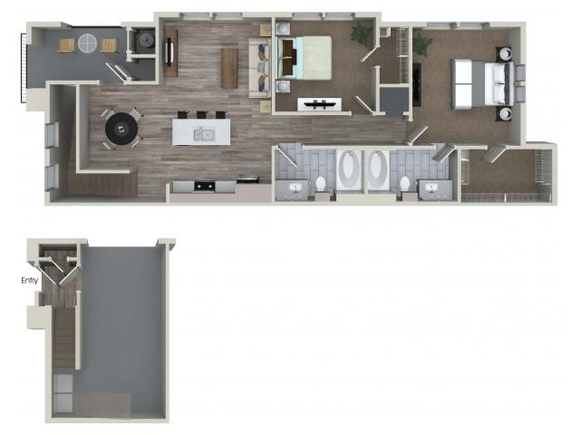 2 bedroom 2 bathroom B4 floorplan at Valentia Apartments in La Habra, CA