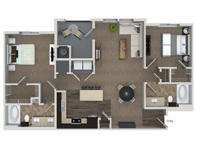2 bedroom 2 bathroom B5 floorplan at Valentia Apartments in La Habra, CA