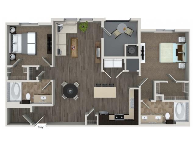 2 bedroom 2 bathroom B5.1 floorplan at Valentia Apartments in La Habra, CA