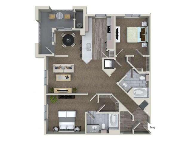 2 bedroom 2 bathroom B6 floorplan at Valentia Apartments in La Habra, CA