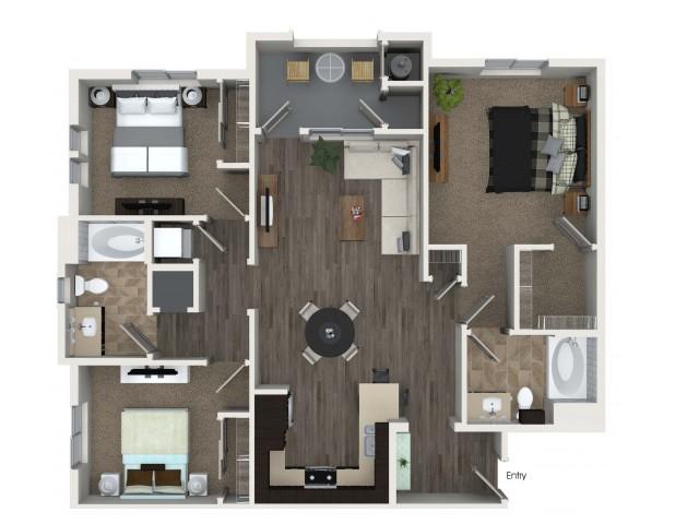 3 bedroom 2 bathroom C1 floorplan at Valentia Apartments in La Habra, CA