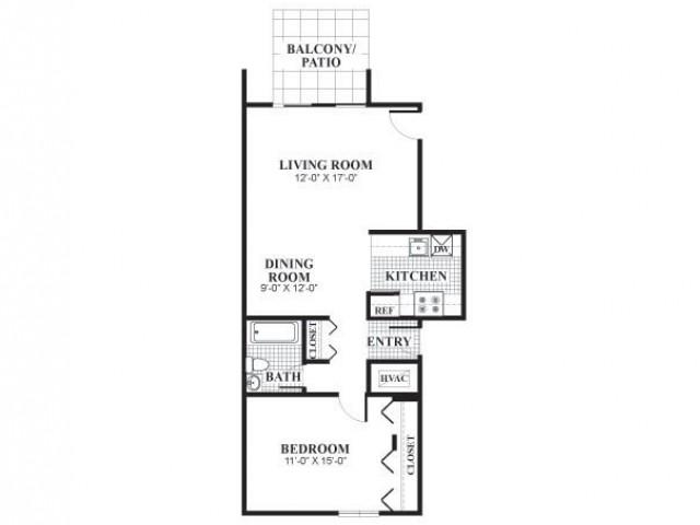 1 bedroom 1 bathroom classical B floorplan at University Heights Apartments in Providence, RI