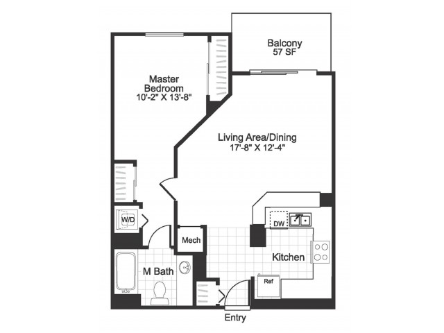 1 bedroom 1 bathroom A03 floorplan at The Alexander in Alexandria, VA