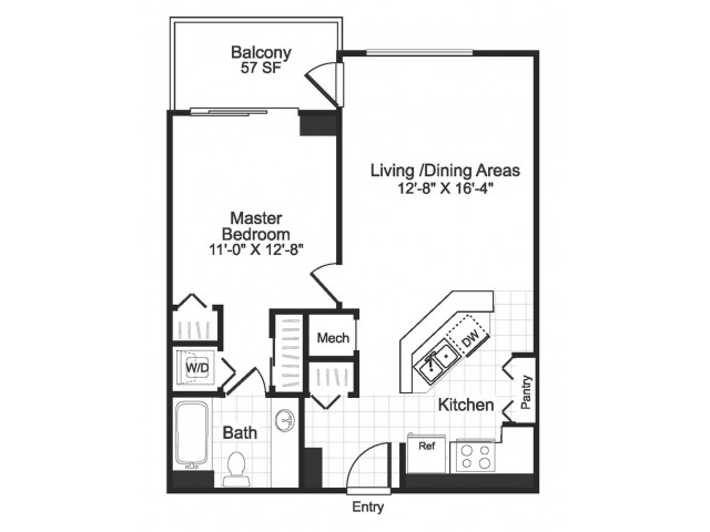 1 bedroom 1 bathroom A04 floorplan at The Alexander in Alexandria, VA