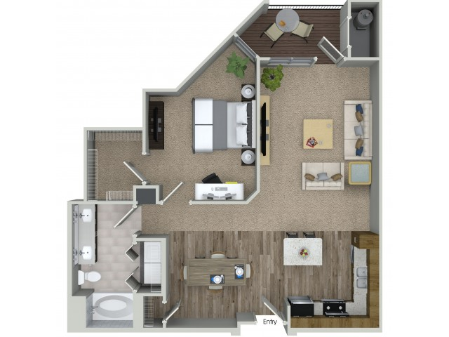 1 bedroom 1 bathroom A5 floorplan at Mave Apartments in Stoneham, MA
