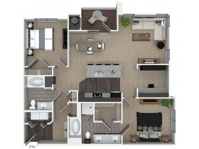 2 bedroom 2 bathroom B4D floorplan at Mave Apartments in Stoneham, MA