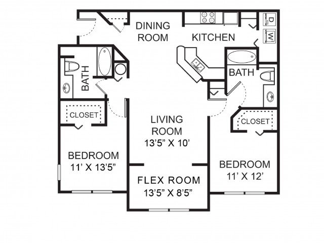 Two bedroom two bathroom B2 floorplan at Vista Lago Apartments in West Palm Beach, FL