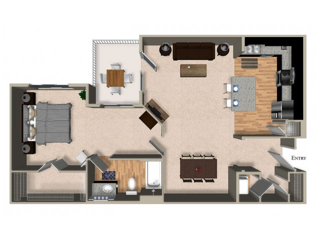 A6 One Bedroom One Bath Floorplan at The Reserve Apartments in Renton WA