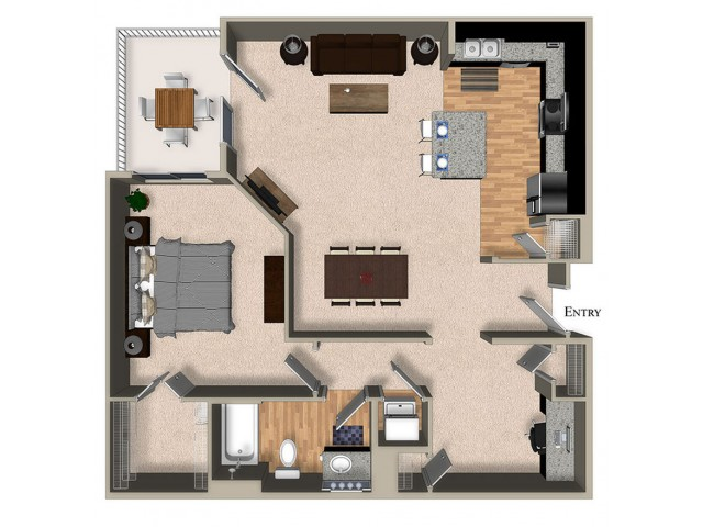 A7 One Bedroom One Bath Den Floorplan at The Reserve Apartments in Renton WA