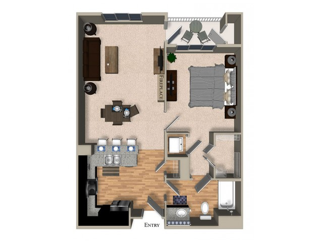 A9 One Bedroom One Bath Floorplan at The Reserve Apartments in Renton WA