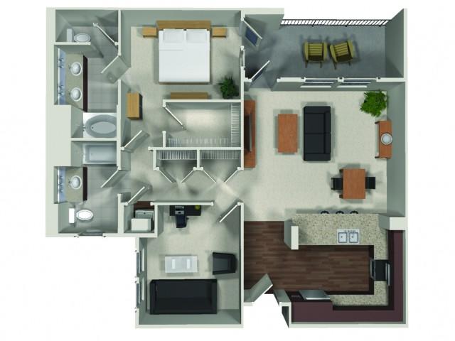 A12 1 Bedroom Two Bath Den Floorplan at Carabella at Warner Center Apartments in Woodland Hills Ca