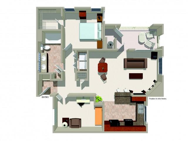 One bedroom one bathroom A3 Floorplan at Ridgestone Apartments in Lake Elsinore, CA