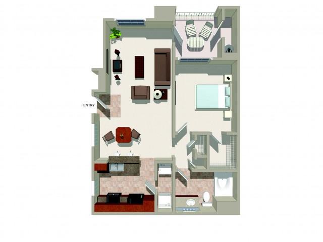 One bedroom one bathroom A5 Floorplan at Ridgestone Apartments in Lake Elsinore, CA