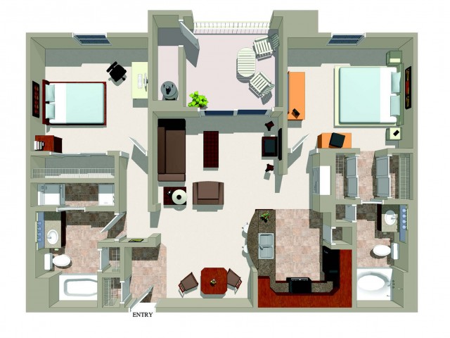 Two bedroom two bathroom B2 Floorplan at Ridgestone Apartments in Lake Elsinore, CA