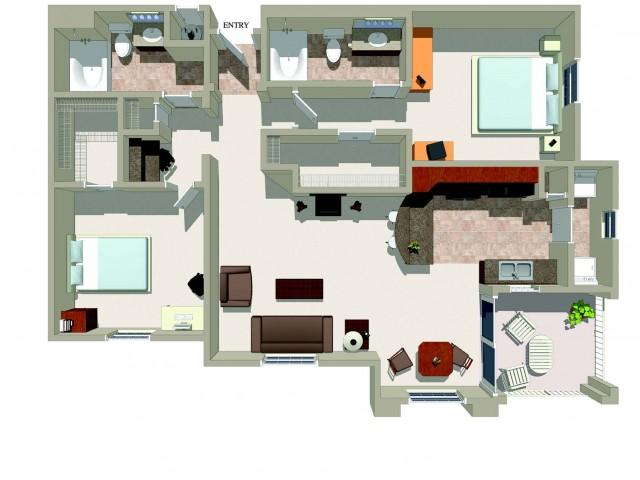 Two bedroom two bathroom B3 Floorplan at Ridgestone Apartments in Lake Elsinore, CA