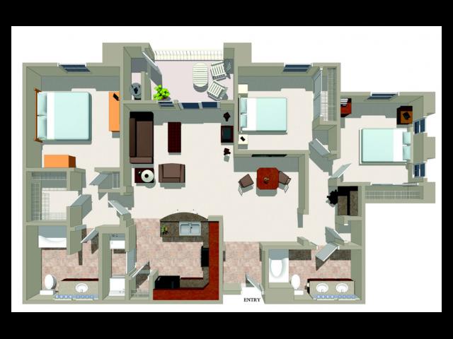 Three bedroom two bathroom C1 Floorplan at Ridgestone Apartments in Lake Elsinore, CA