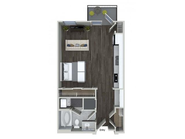 E1 studio floorplan at Inwood Apartments in Dallas, TX