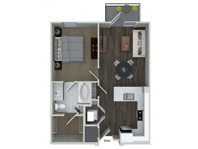 A1 1 bedroom 1 bathroom floorplan at Inwood Apartments in Dallas, TX