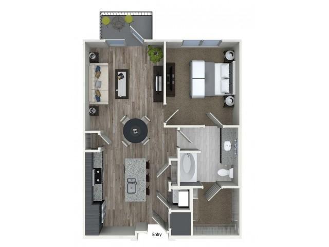A3 1 bedroom 1 bathroom floorplan at A1 1 bedroom 1 bathroom floorplan at Inwood Apartments in Dallas, TX