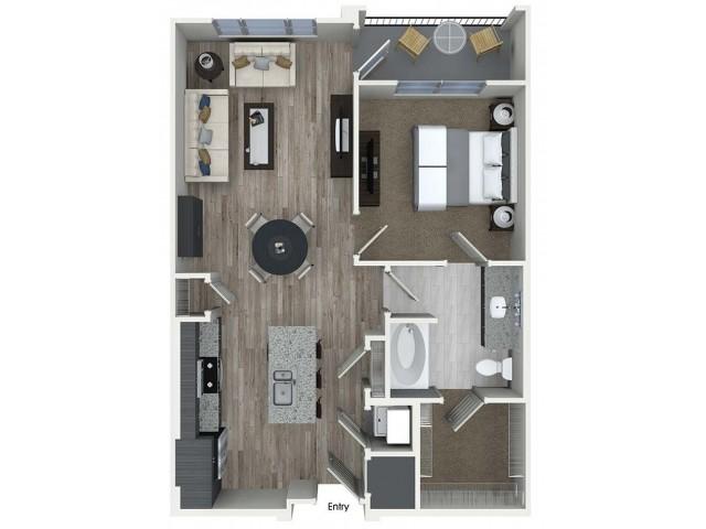 A4 1 bedroom 1 bathroom floorplan at A1 1 bedroom 1 bathroom floorplan at Inwood Apartments in Dallas, TX