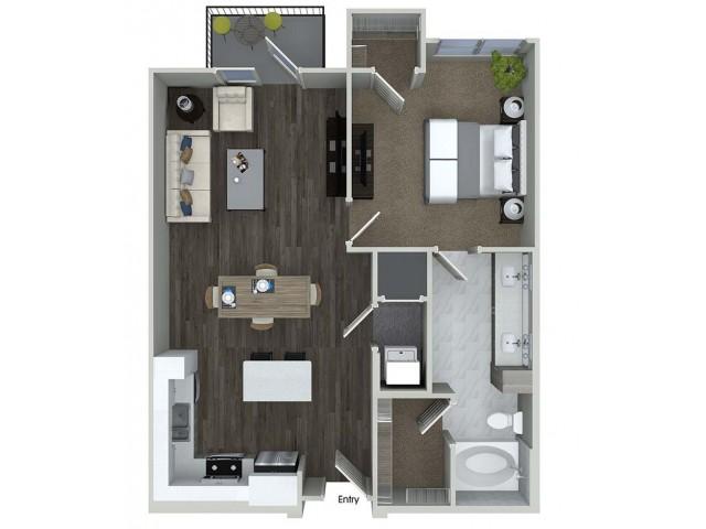A6 1 bedroom 1 bathroom floorplan at A1 1 bedroom 1 bathroom floorplan at Inwood Apartments in Dallas, TX