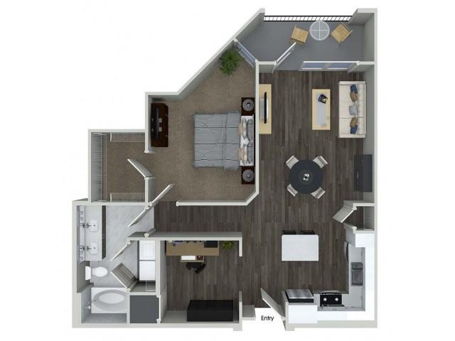 A8 1 bedroom 1 bathroom plus den floorplan at A1 1 bedroom 1 bathroom floorplan at Inwood Apartments in Dallas, TX