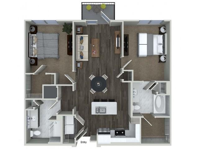 B1 2 bedroom 2 bathroom floorplan at A1 1 bedroom 1 bathroom floorplan at Inwood Apartments in Dallas, TX