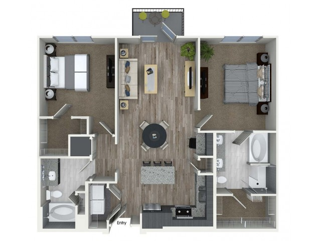 B2 2 bedroom 2 bathroom floorplan at A1 1 bedroom 1 bathroom floorplan at Inwood Apartments in Dallas, TX