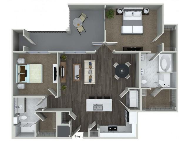 B3 2 bedroom 2 bathroom floorplan at A1 1 bedroom 1 bathroom floorplan at Inwood Apartments in Dallas, TX