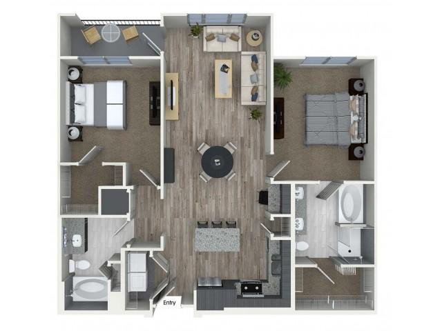 B4 2 bedroom 2 bathroom floorplan at A1 1 bedroom 1 bathroom floorplan at Inwood Apartments in Dallas, TX