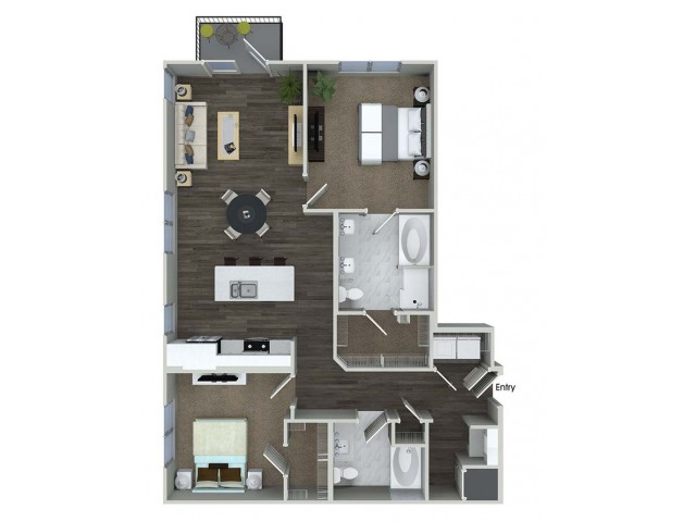 B5 2 bedroom 2 bathroom floorplan at A1 1 bedroom 1 bathroom floorplan at Inwood Apartments in Dallas, TX