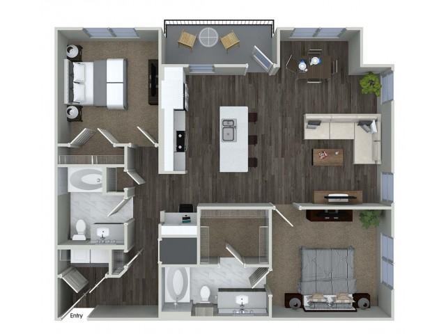 B6 2 bedroom 2 bathroom floorplan at A1 1 bedroom 1 bathroom floorplan at Inwood Apartments in Dallas, TX