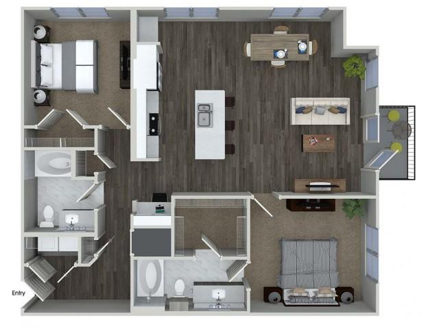 B7 2 bedroom 2 bathroom floorplan at A1 1 bedroom 1 bathroom floorplan at Inwood Apartments in Dallas, TX