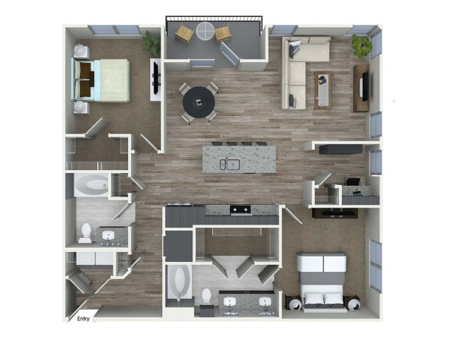 B8D 2 bedroom 2 bathroom plus den floorplan at A1 1 bedroom 1 bathroom floorplan at Inwood Apartments in Dallas, TX
