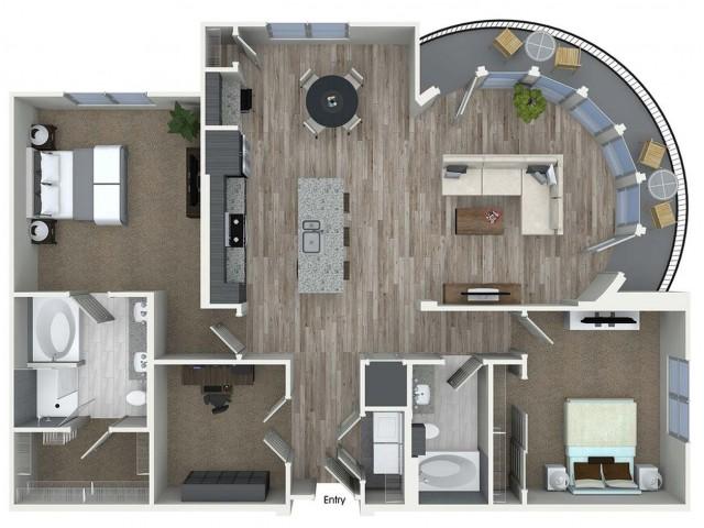 B9D 2 bedroom 2 bathroom plus den floorplan at A1 1 bedroom 1 bathroom floorplan at Inwood Apartments in Dallas, TX