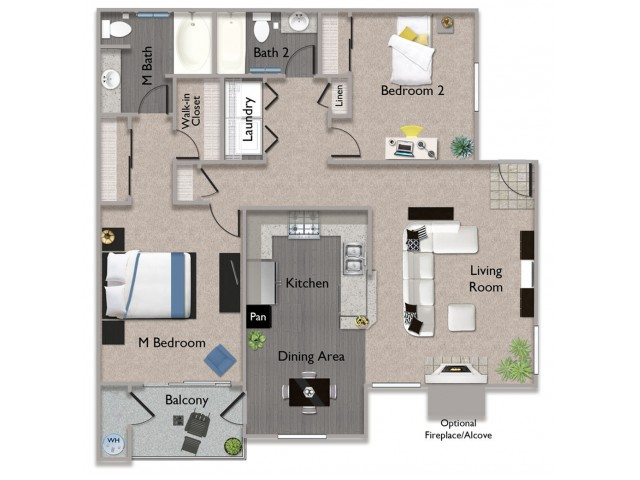2 bedroom 2 bathroom B1 at Somerfield at Lakeside in Elk Grove, CA