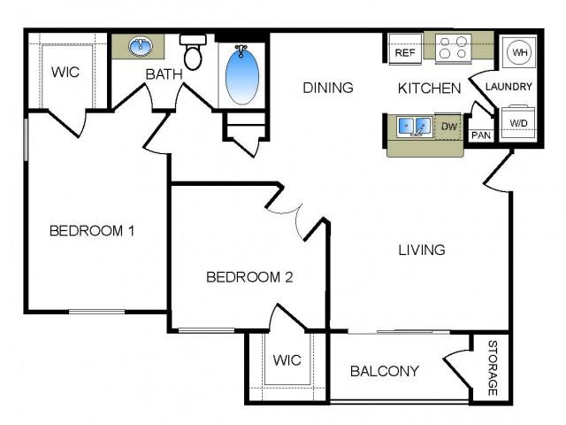 B1 2 bedroom 1 bathroom floorplan at he Reserve at Las Brisas Apartments in Irving, TX