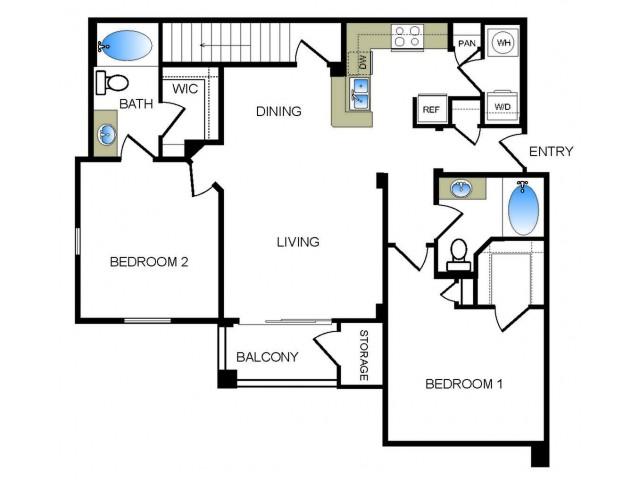 B2 2 bedroom 2 bathroom floorplan at he Reserve at Las Brisas Apartments in Irving, TX