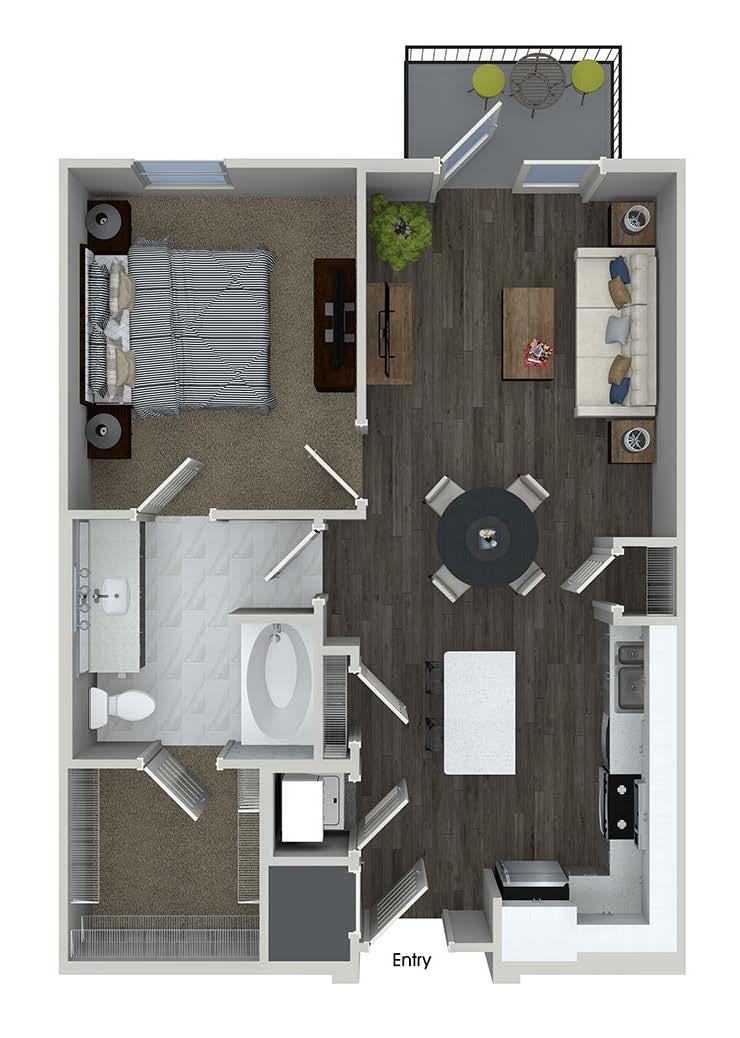 A2 1 bedroom 1 bathroom floorplan at A1 1 bedroom 1 bathroom floorplan at Inwood Apartments in Dallas, TX